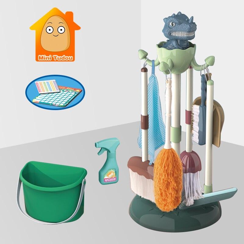 Kids Dinosaur Housework Tool Toys Plastic Cartoon Pretend Play Cleaning Broom Mop Brush Set Educational Toys For Children Gift